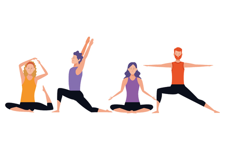 people yoga poses avatars cartoon character headband beard vector illustration graphic design
