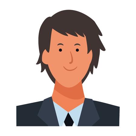 man portrait avatar cartoon character wearing tie vector illustration graphic design Çizim
