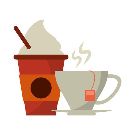 Coffee cup to go and mug tea bag vector illustration graphic design Stock Illustratie