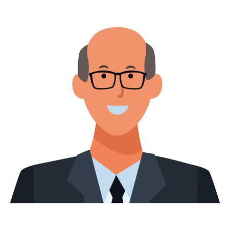 man portrait avatar cartoon character wearing glasses and tie vector illustration graphic design Çizim