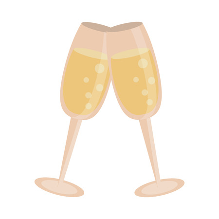 Champagne cups cartoon isolated vector illustration graphic design