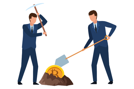 businessmen digging looking for cryptocurrency bitcoin with pickaxe and shovel vector illustration graphic design