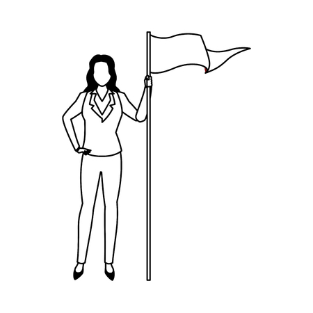 executive business woman with goal flag cartoon vector illustration graphic design