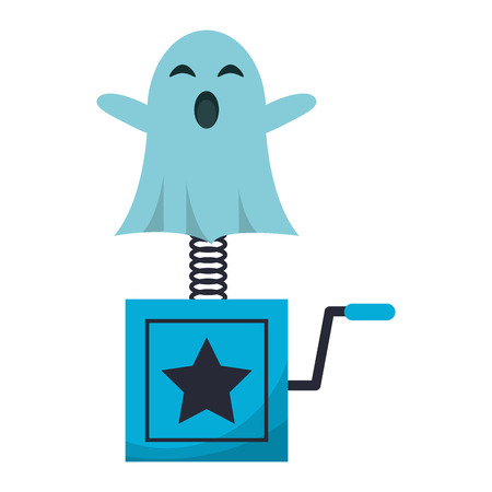 Joke surprise box with ghost cartoon