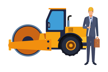 Engineer with briefcase and steamroller vector illustration graphic design