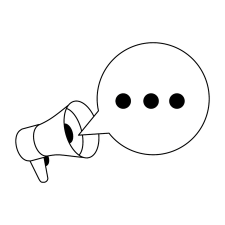 Bullhorn with speech bubble cartoon vector illustration graphic design Ilustração