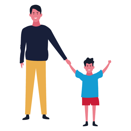 Family single father with little son vector illustration graphic design
