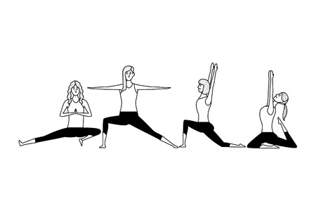women yoga poses avatar cartoon character black and white vector illustration graphic design