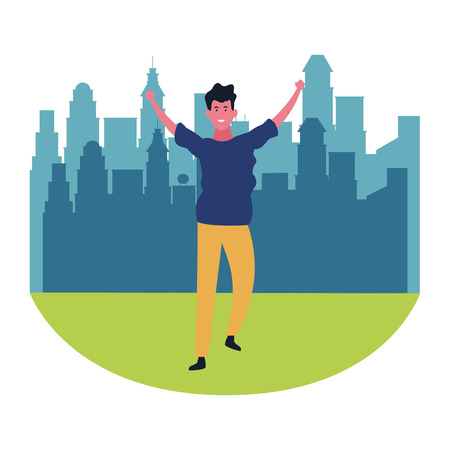 Happy man dancing and smiling cartoon at city park scenery vector illustration graphic design