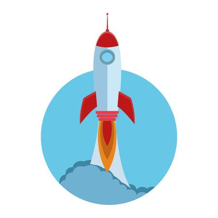 rocket taking off cartoon vector illustration graphic design 向量圖像