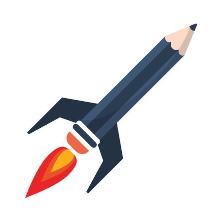 Start up pencil rocket symbol vector illustration graphic design