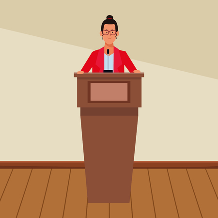 woman in a podium making a speech wearing glasses indoor vector illustration graphic design