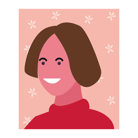 Woman smiling abstract cartoon profile over floral square frame vector illustration graphic design