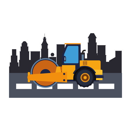 Construction vehicle steamroller in the city scenery vector illustration graphic design