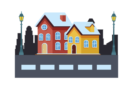 house and building in cityscape with streetlights vector illustration graphic design Stock Illustratie