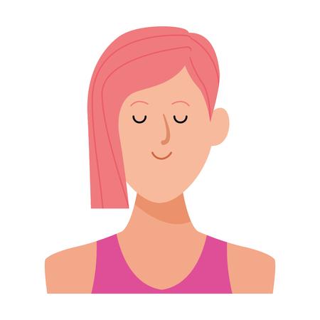 woman portrait avatar cartoon character with short hair vector illustration graphic design
