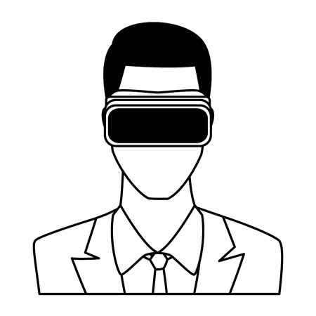 businessman wearing virtual reality headset portrait avatar cartoon character black and white vector illustration graphic design