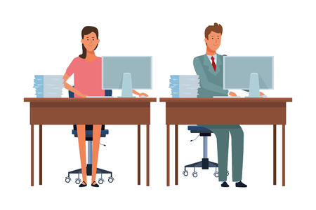 women in a office desk with computer and documents vector illustration graphic design