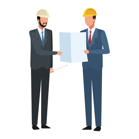 Construction engineer and architect looking plans vector illustration graphic design