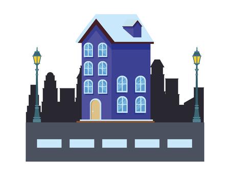 house icon in cityscape streelights vector illustration graphic design