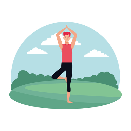 man yoga pose avatar cartoon character in the park vector illustration graphic design