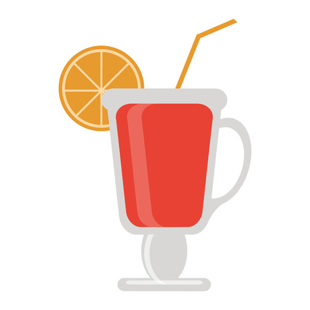 Cocktail with lemon and straw in cup vector illustration graphic design
