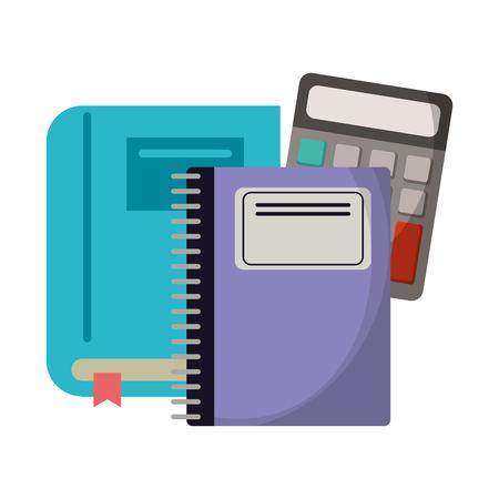 School utensils and supplies book notebook and calculator