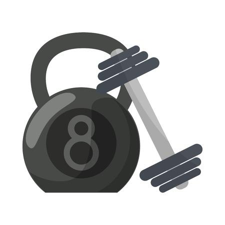 Ketlebell and dumbbell gym equipment for do exercise 向量圖像