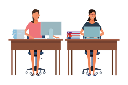women in a office desk with computer documents and books vector illustration graphic design Ilustração