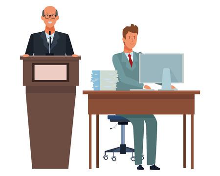 men in a podium and office desk wearing elegant suits vector illustration graphic design