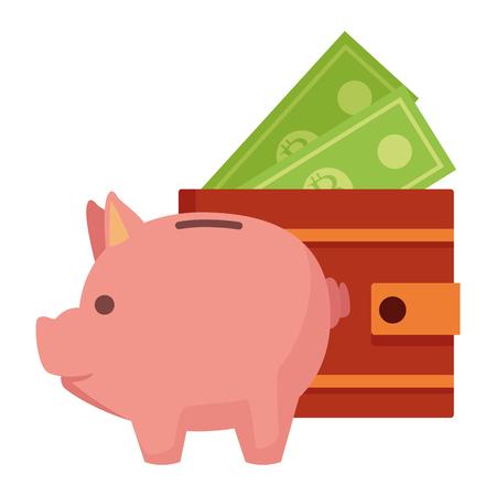 Piggy and wallet with money cartoon vector illustration graphic design Ilustração