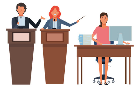 people in podium and desk with computer and documents vector illustration graphic design Stock Illustratie