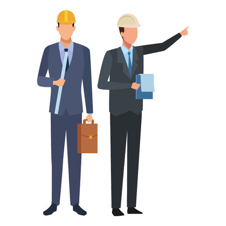 Construction teamwork avatar engineers with briefcase and checklist vector illustration graphic design