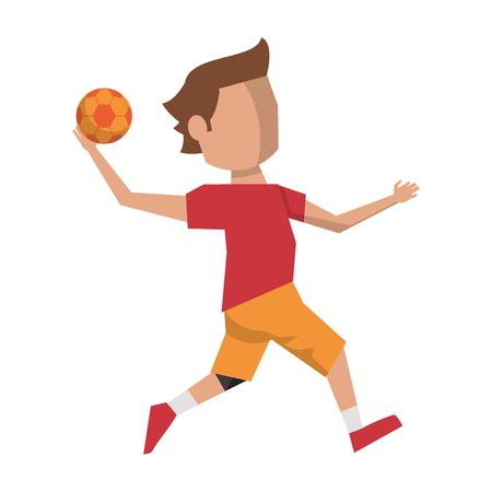 handball player with ball avatar vector illustration graphic design