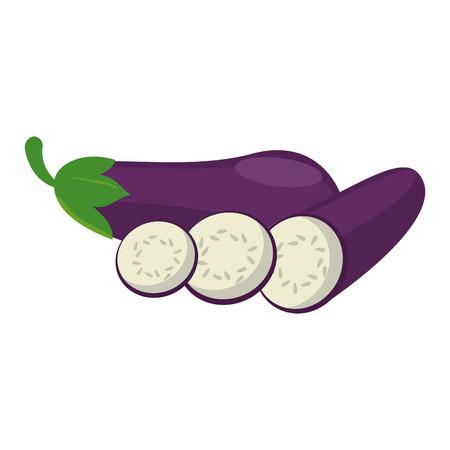 Eggplants slices cut vegetable vector illustration graphic design