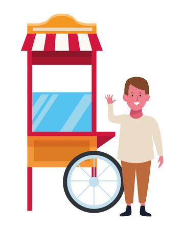 Boy smiling and greeting in pop corn cart vector illustration graphic design