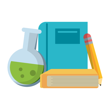 School utensils and supplies books and pencil with chemistry flask