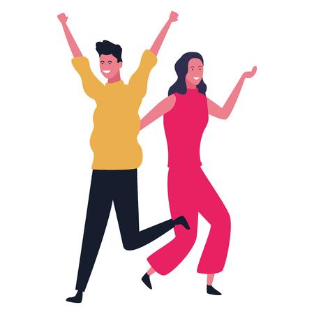 Happy couple having fun and dancing vector illustration graphic design