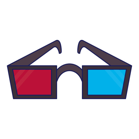 Cinema 3d glasses isolated vector illustration graphic design Illustration