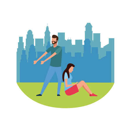 Coworkers man pulling and woman with tablet teamwork cartoon over cityscape scenery vector illustration graphic design