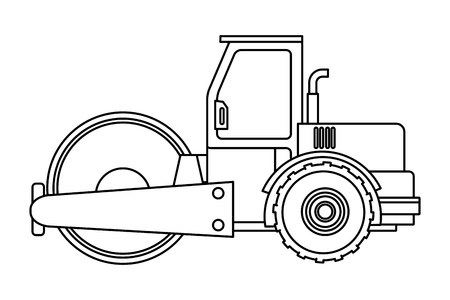 Construction vehicle steamroller isolated vector illustration graphic design