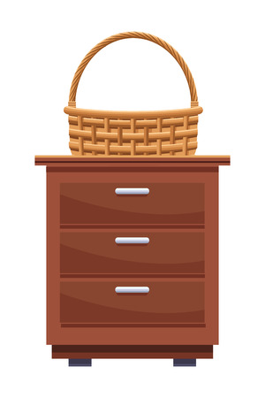 wicker basket icon cartoon isolated over kitchen table vector illustration graphic design