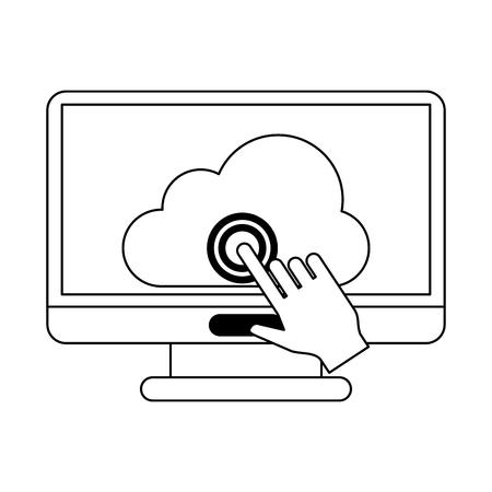 Cloud computing technology cursor click on computer vector illustration graphic design Ilustração