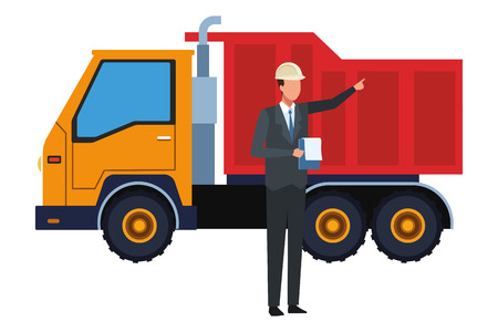 Construction worker with clipboard and cargo truck vector illustration graphic design