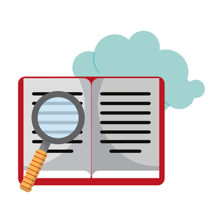 Book and magnifying glass with cloud cartoon vector illustration graphic design
