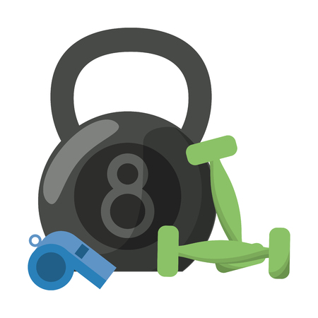 Kettlebell wwith dumbbells and whistle cartoon
