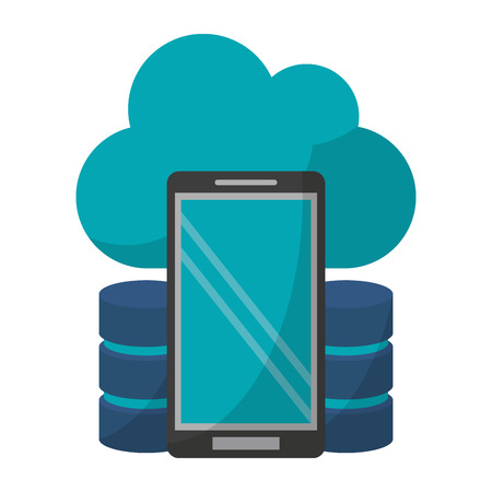 Cloud computing smartphone and disks technology vector illustration graphic design