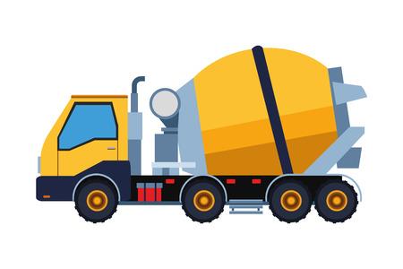 Progettazione grafica dell'illustrazione di vettore del camion del cemento del veicolo della costruzione