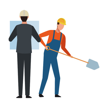 Construction teamwork avatar engineer with plans and worker with shovel vector illustration graphic design