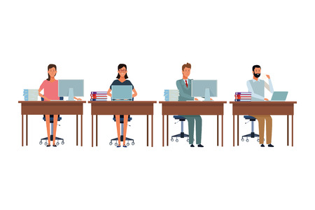 people in office desk with computer books and documents vector illustration graphic design Vettoriali